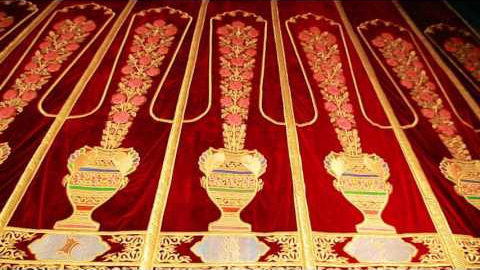Gold embroidery portieres for a scene of the Bukhara palace of culture