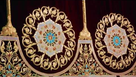 Gold embroidery portieres for a scene of the Turkistan arts palace
