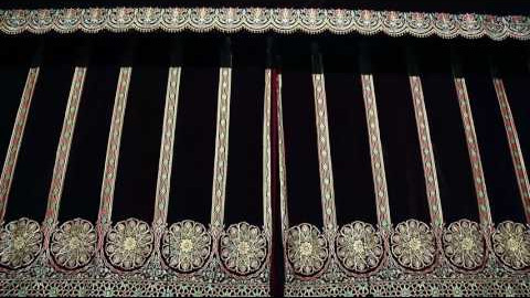 Gold embroidery portieres for the Samarkand concert hall scene